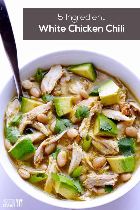 5 ingredient easy white chicken chili! http://www.gimmesomeoven.com/5-ingredient-easy-white-chicken-chili-recipe/