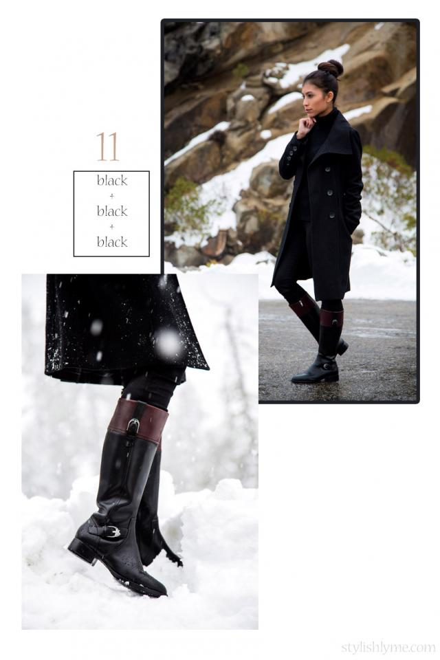 An all black outfit with black riding boots  If you want to channel Angelina Jolie and go with an all black look try wearing a long black coat, black turtleneck and black jeans with some classic riding boots.