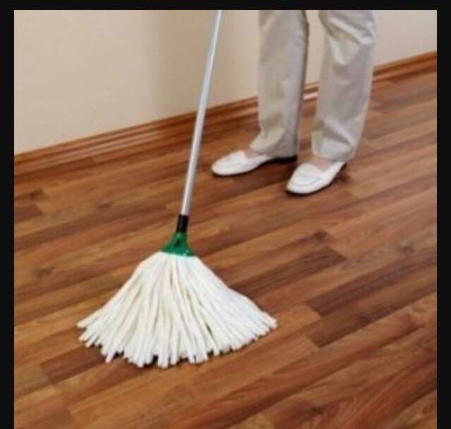 After sweeping, mop up left over dirt and to make the floors extra clean.