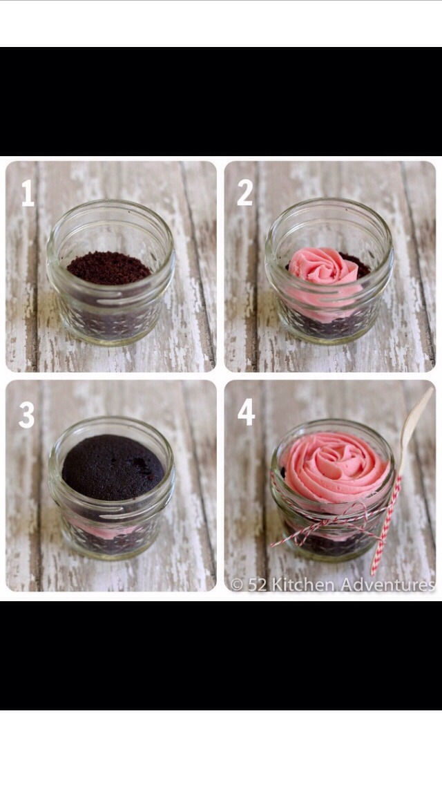 - you need cupcake, frosting, mason jars, and some cute decor - cut the cupcake in half - place bottom half in the jar - put and inch of icing - put top half cupcake on top of icing - fill the rest with icing or sprinkles ( both) - place lid on and decorate