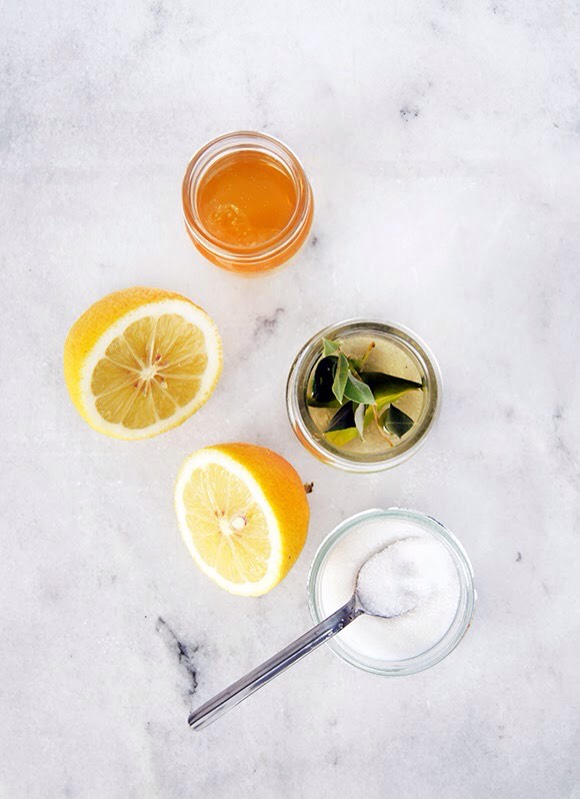 LEMON SCRUB INGREDIENTS | +1/2 lemon juice + 1/2 cup of sugar + 1 tablespoon olive oil +1 tablespoon honey  INSTRUCTIONS |Whisktogetherliquid ingredients until mixture isthick. Add sugar + mix with aspoon. You can add more or less sugar according to how thick you want your scrub to be.