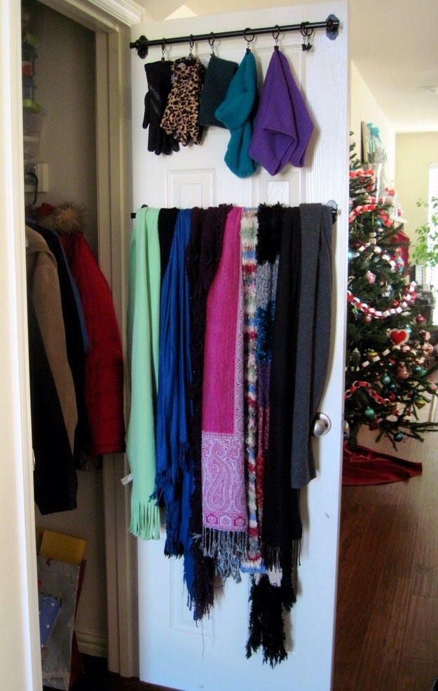 8. Make a (little) bit of extra rod space by hanging scarves etc. on the inside of the doors.