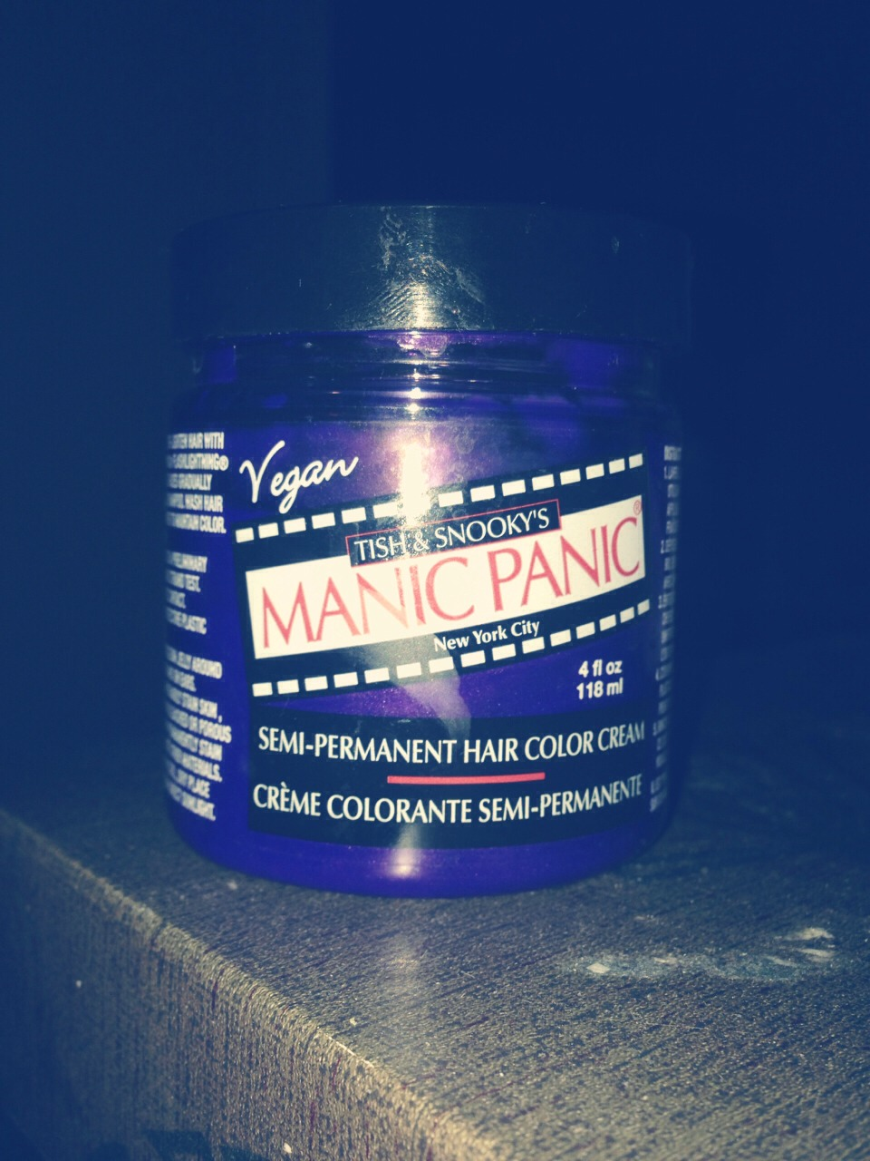 Take a bottle of manic panic ( ultra violet) dip 1 cm of your finger