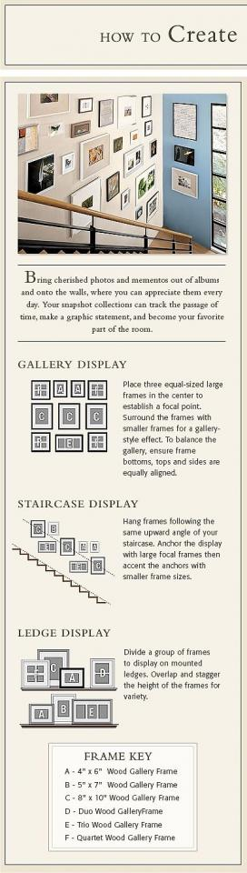 Tips On Getting Started With A Photo Collage http://www.potterybarn.com/design-studio/articles/living_rooms_staircase-gallery.html