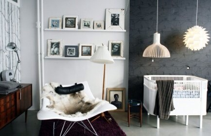 Black and White Modern  If the nursery is a shared space this might be the way to do it.
