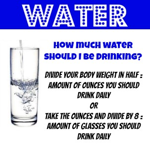 Divide your weight by 2 (ex:122/2=61) so I'd have to drink 61 ounces but if you don't want to do that just drink 8-12 glasses of water a day
