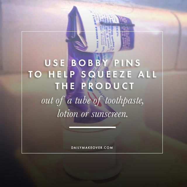 6. Use bobby pins to help squeeze all the product out of a tube of toothpaste, lotion or sunscreen.
