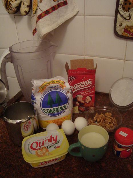 Step 1: The muffin ingredients:  1 cup warm milk 3 eggs 4 tablespoons margarine 2 cups sugar 1 cup cocoa powder 2 cups flour 1 tablespoon baking powder