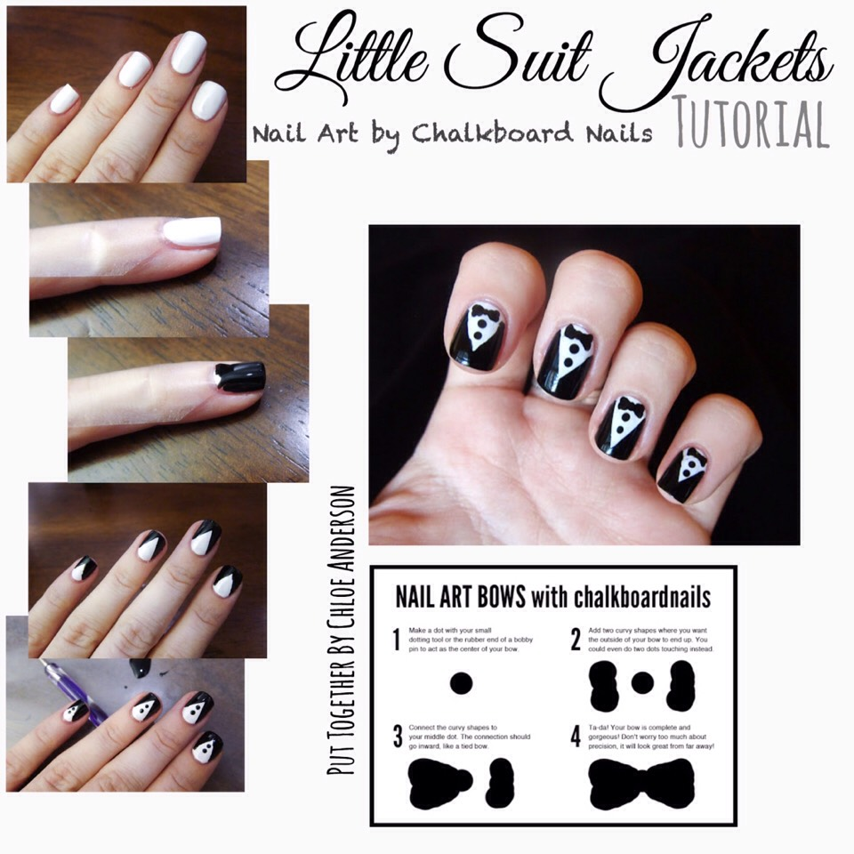 Full tutorial can be found HERE |www.chalkboardnails.com/2011/09/31-day-challenge-day-07-black-and-white.html?m=1