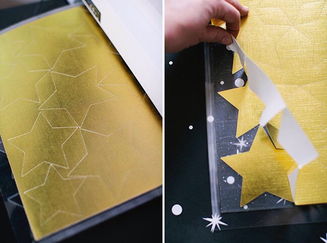 Step 1: Cut out stars from gold foil and gold glitter paper. You can get star shaped punches or use a fancy machine like a Cricut or Silhouette. If you're planning on making star garlands for your wedding I fully recommend investing in a machine or making very good friends with someone who has one