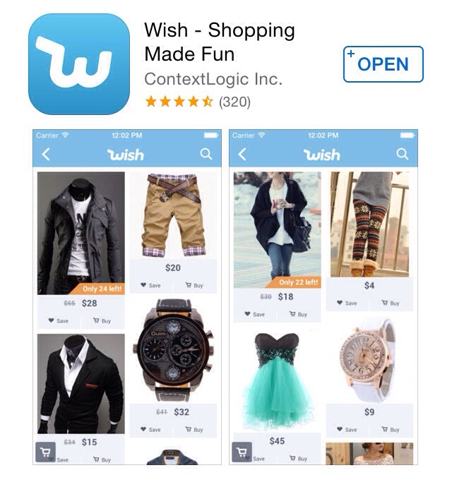 Download Wish in the App Store and find hundreds  of deals 💚
