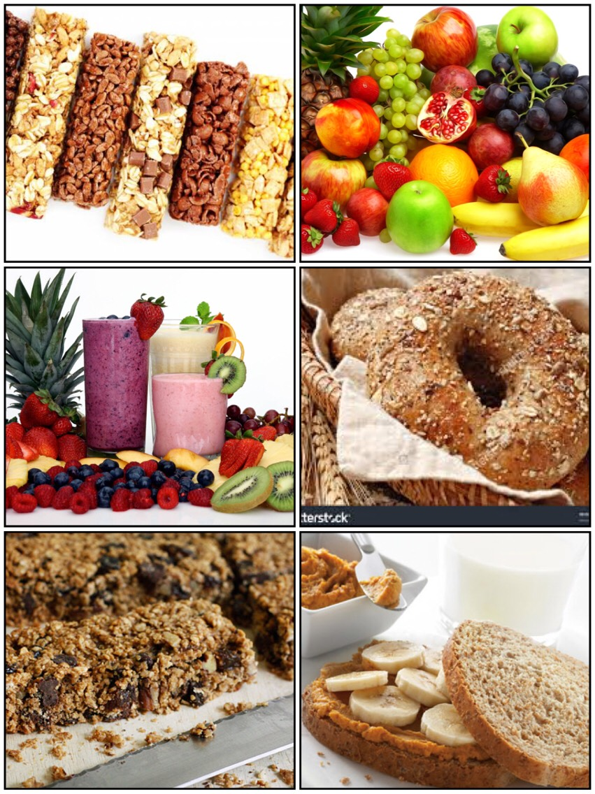 •Energy bars •Bananas or other fresh fruit •Yogurt •Fruit smoothies •Whole-grain bagel or crackers •Low-fat granola bars •Peanut butter sandwiches A healthy snack is especially important if you plan a workout several hours after a meal.