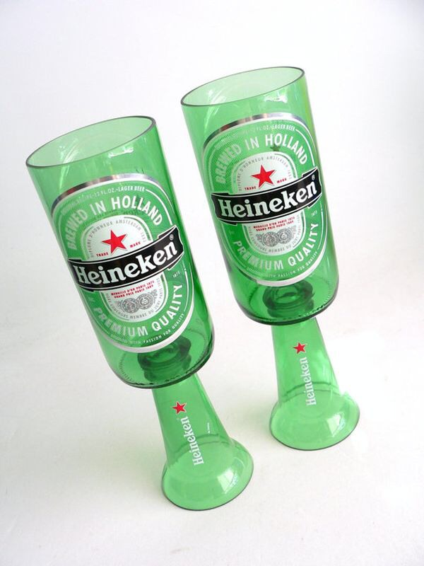 Put the top half on the bottom half for a beer bottle wine glass.