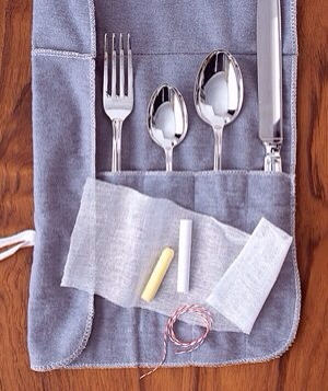 Monica Buck Chalk as Tarnish Prevention Slow the tarnish on your good silver by tying up a few moisture-absorbing pieces in cheesecloth and store them with your cutlery for shinier flatware that reflects well on you in no time flat.