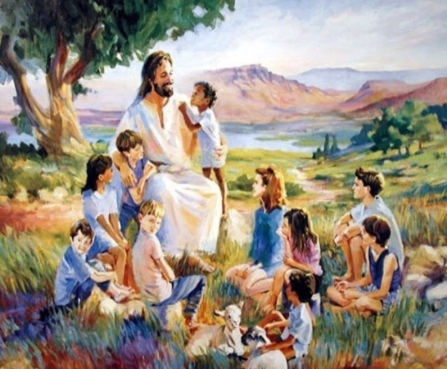 """Matthew 19:13-15  Then children were brought to him that he might lay his hands on them and pray. The disciples rebuked the people, but Jesus said, """"Let the little children come to me and do not hinder them, for to such belongs the kingdom of heaven."""" And he laid his hands on them and went away."""