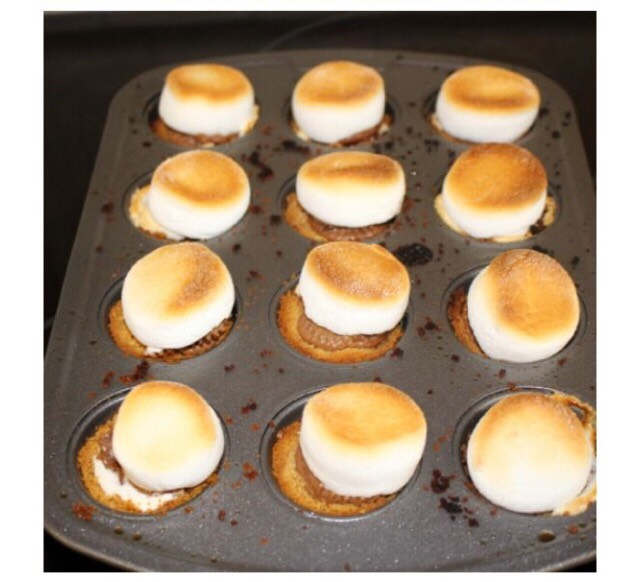 Add a marshmallow on top and pop the tray into the oven on 350 degrees. And keep an eye on the tray and take out once the marshmallow starts to turn golden brown and gooey! Let the tray cool and enjoy! 😉