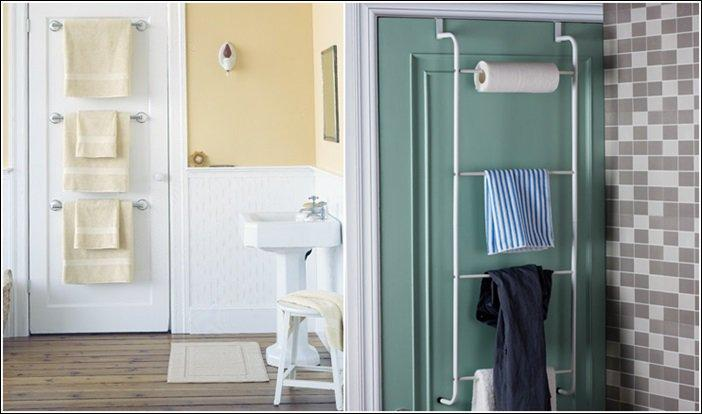 The back of the bathroom door is ideal for storing towels.