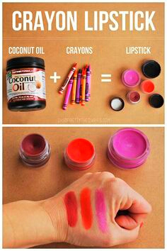 INGREDIENTS   A crayon of your choice A pan  A container that you won't mind ruining   Coconut oil Another container to put the lipstick