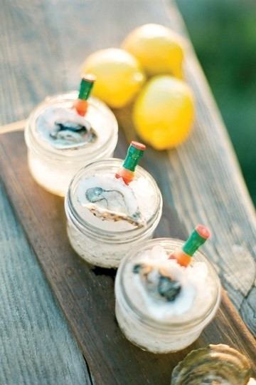 Serve oysters on ice in mini mason jars