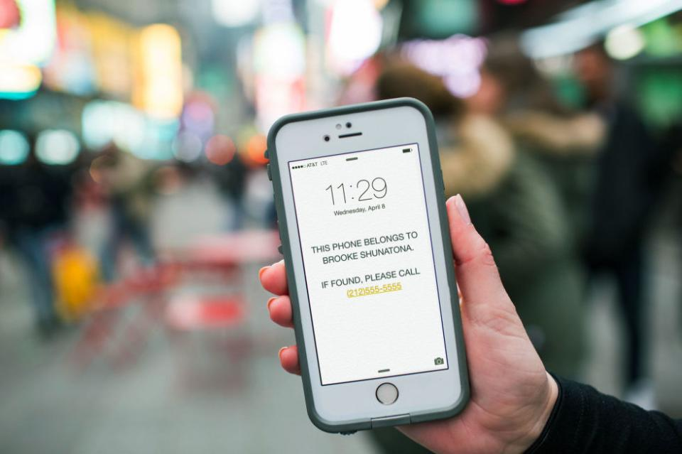 3. Change your phone background to a photo of your name and an emergency contact number in case you lose your phone. Type it into your notes app, take a screenshot, and change it to your lock screen. And then just hope that the person who finds your phone is a good Samaritan.