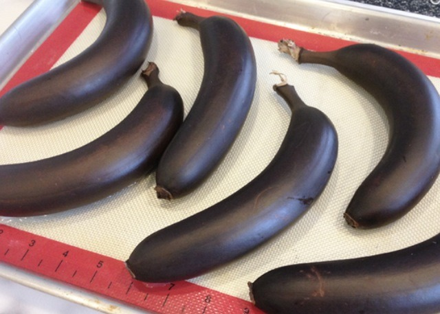 -Place in the oven at 400 degrees for 40 mins or until the banana is shiny black. -refrigerate for 20 mins then squeeze the banana'a content out like toothpaste out(the heat made it super sweet)