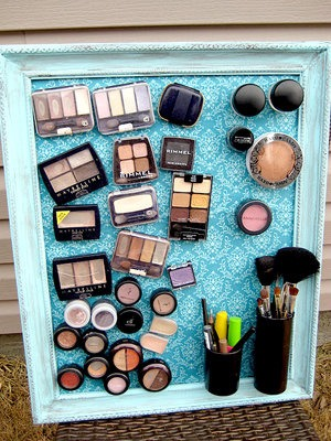 Get a magnetic board (from Amazon or Ikea) to store makeup. Total space saver!