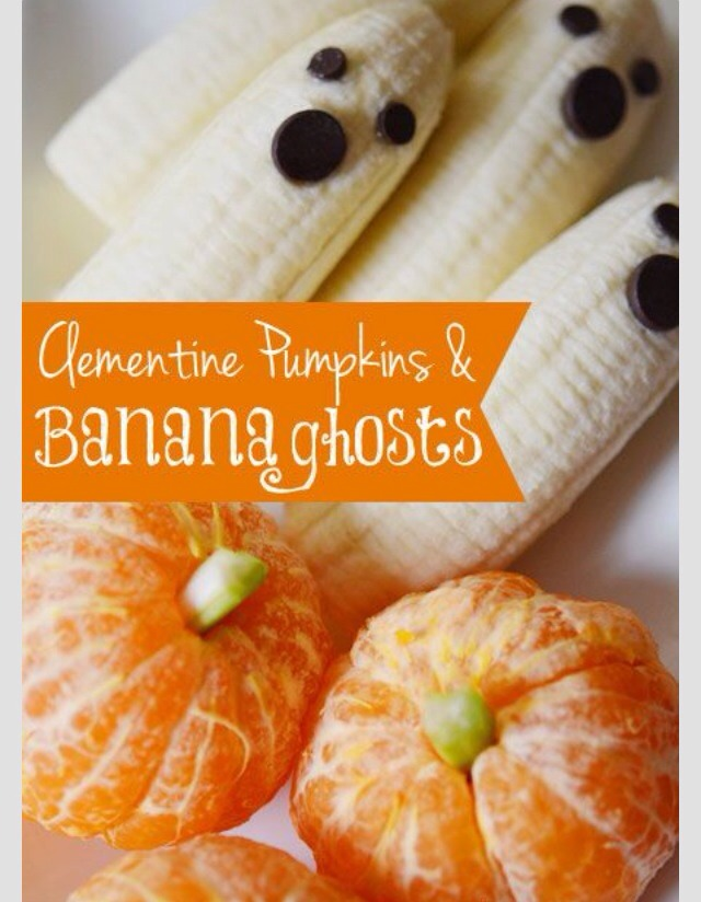 Chocolate chip eyes and mouth on a banana to make a ghost or cut a celery stick very thin to make a pumpkin out of a clementine ❤️ mmmmm