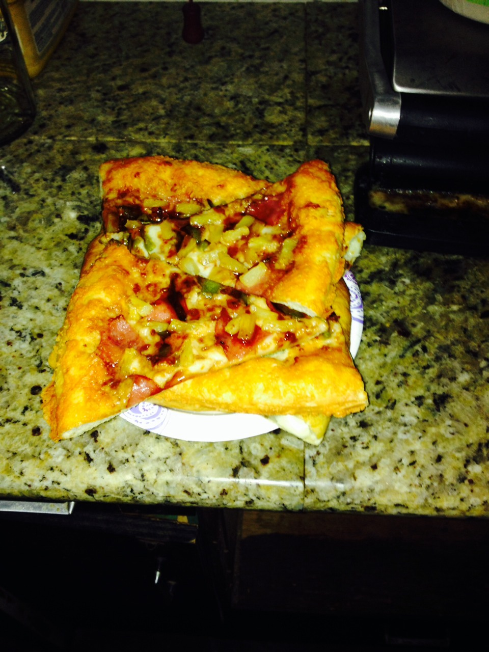 Cant fit the whole pizza box in the fridge? Stack pizza crust to tip two pieces at a time all the way until its a tower!