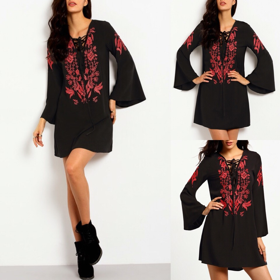 $20.99 http://m.romwe.com/Black-Long-Sleeve-Lace-Up-Embroidered-Dress-p-151557-cat-722.html