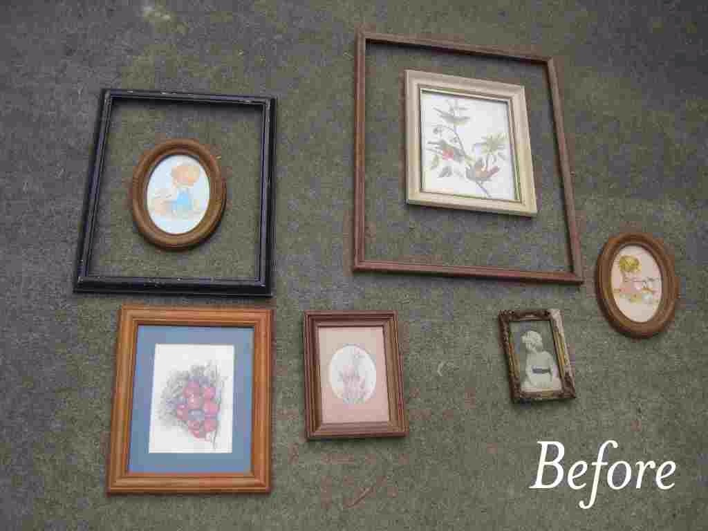 get a bunch of frames from the dollar store or second hand shop then spray - Dollar Store Frames
