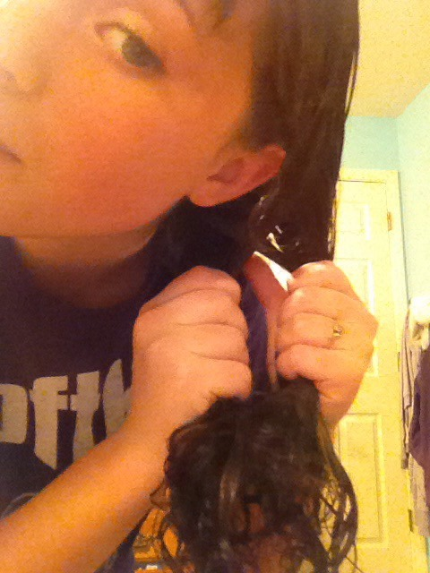 Cross over the small section of hair and continue until the end of your hair.