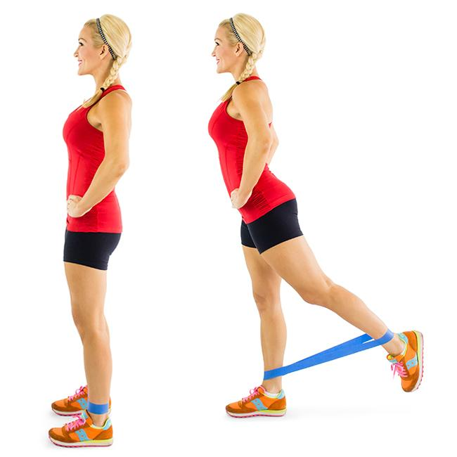 Resistance Band Kickback Pulse: This move requires strength and stamina from your glutes in order to get all the way through! For a less intensity, ditch the resistance band.