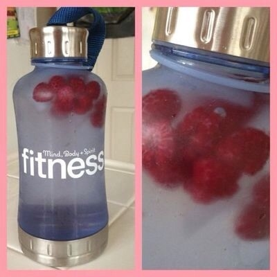 Add frozen fruit to your water bottle.It'll keep it cold and add a little flavor. Please tap for full view.
