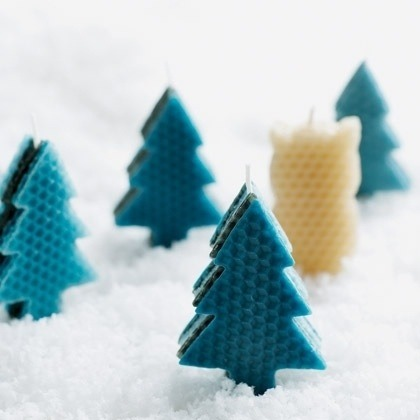 Make homemade holiday candles with honeycomb wax sheets.