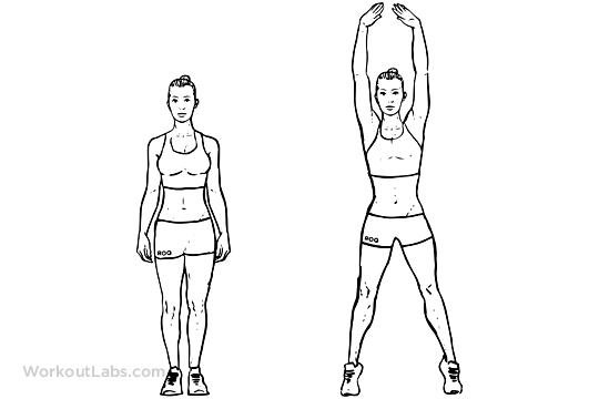 jumping jacks try to do as many as you can in the morning and in the night before you go to bed.