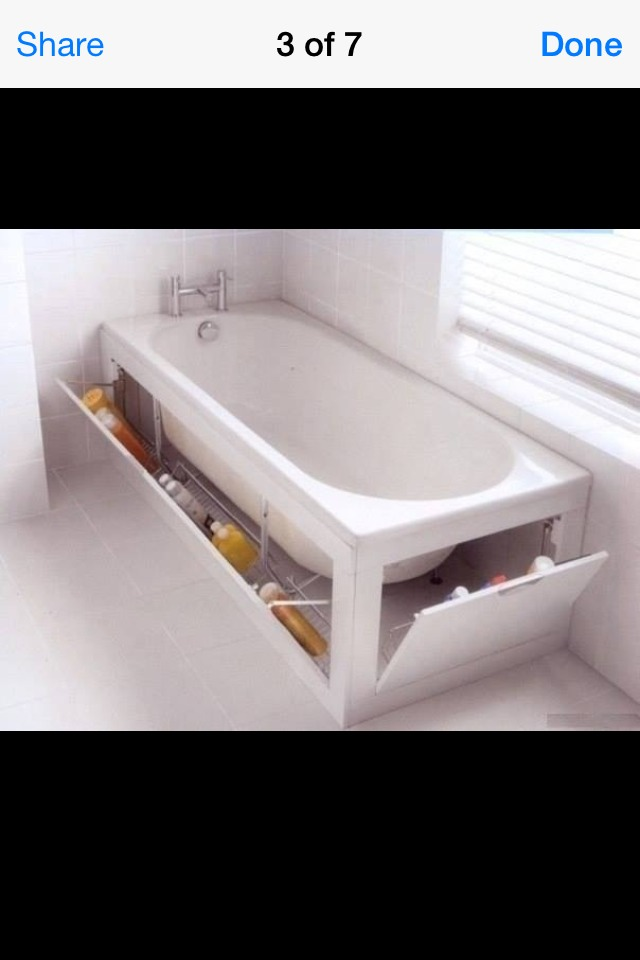 Create storage space under the tub to hold bath products.