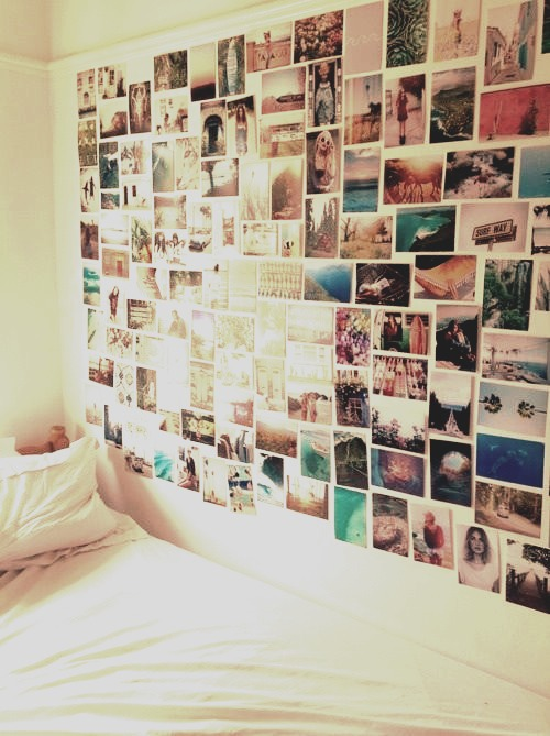 EVERY tumblr bedroom has one of these- you can make it into a 💜 shape, randomly scatter pics around the room or just packed into a square like this one. The size does not matter ( your bedroom size ) when it comes to collages I have a titch room but I have a fab one ;D