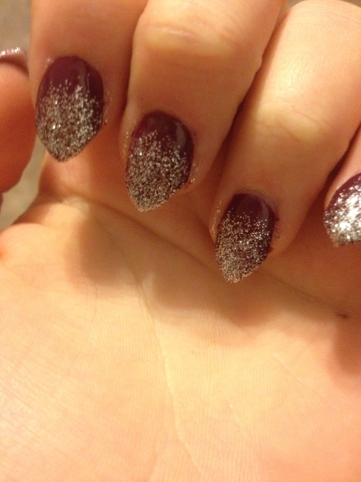 Apply a sparkle nail polish. Apply from the tip up. But not to the top. Then apply another coat mostly to the tip but blending to where the sparkles stop. Repeat as many times until the tip is solid.