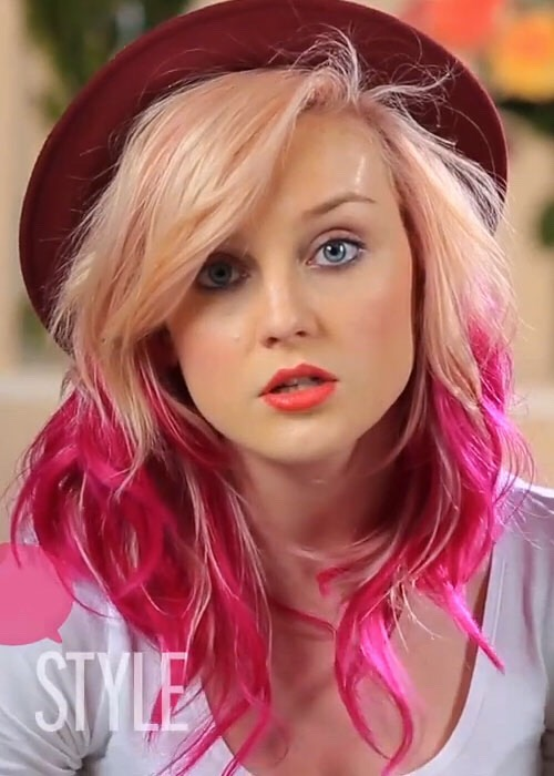Hot pink hair tips.