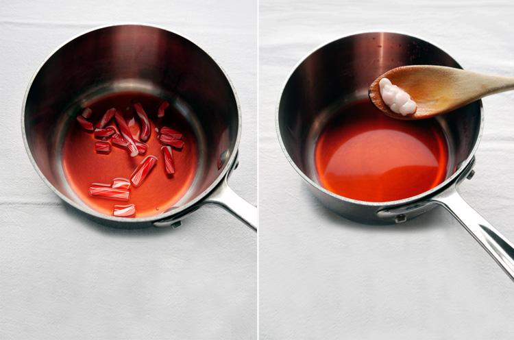 1: Break the candy canes into small pieces and melt them down in 1/4 cup of water. Remove last bit of white candy once you have achieved a melted red, peppermint syrup. Allow to cool completely.