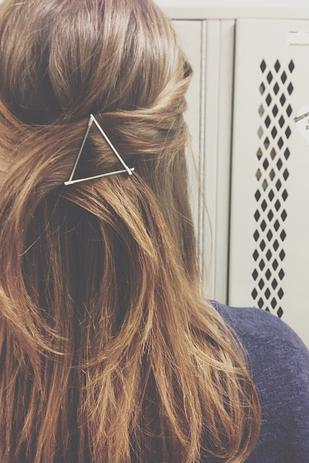 10. Use your bobby pins as graphic hair accessories.