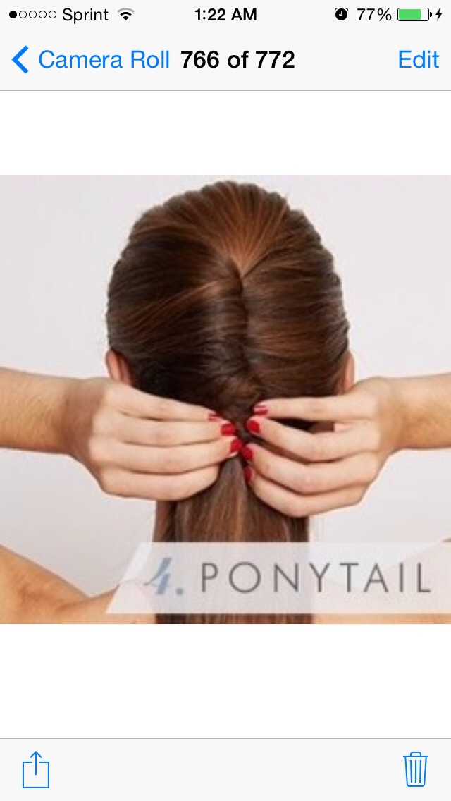 Secure the bottom of your twisted hair with a hair tie, creating a low ponytail.