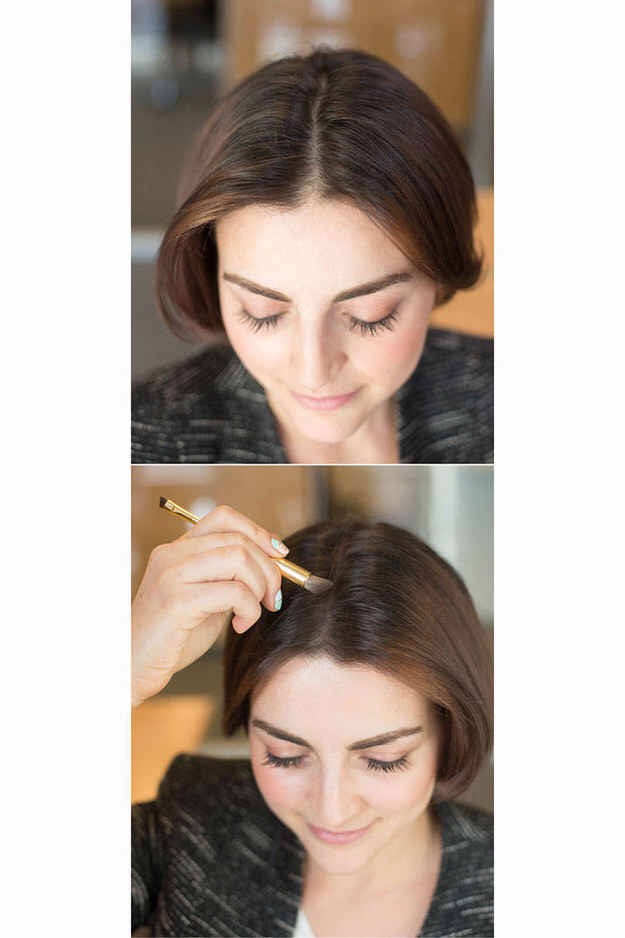 Dust an eyeshadow (in the same color family as your hair) along your part to shade your scalp slightly, making your hair appear thicker💆