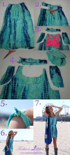 Turn old skirt into a dress.
