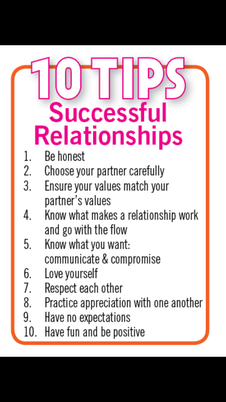 10 tips for a successful relationship