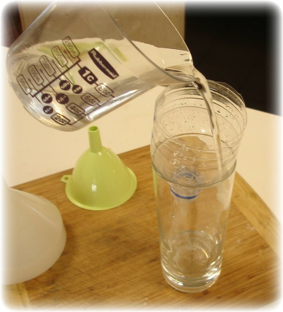 Here's a simple hack. Cut a plastic bottle in half and use it is a funnel. Never buy one again. Can be used for beauty products as well as to put oil in your car.