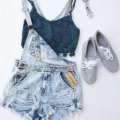 •Lace Bralette •Light washed overalls •Gray sneakers