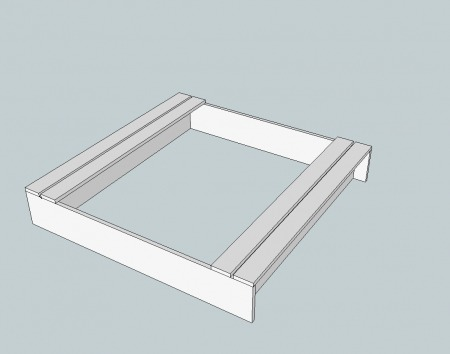 "Screw in two planks on each side, countersinking your screws through the top. Space the boards 1/2"" apart."
