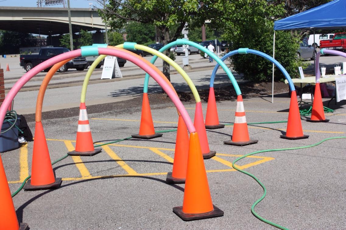 Make a sprinkler obstacle course!