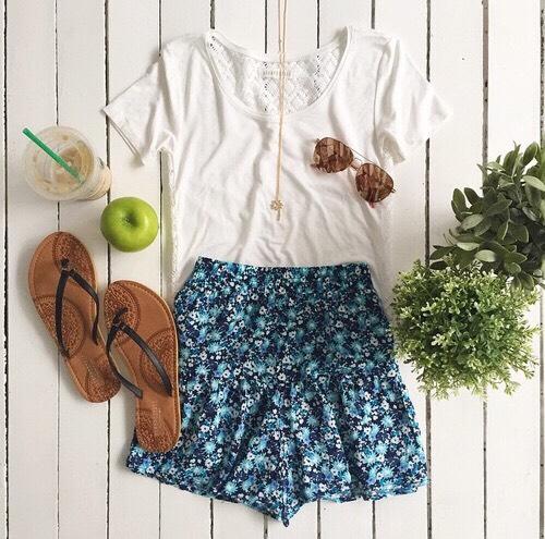 •Black strap sandals •White crotchet back shirt •Blue floral skater skirt •Gold necklace •Aviaters